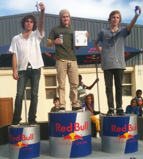 Three Eastern cape skateboarders have qualified to pariticpate in the Red Bull Manny Mania South African finals. (From left in photo) Mark Stoutjesdyk of Port Elizabeth, Gareth Sierra of East London  and Damen De Clercq of Jeffreys Bay  will be heading to Johannesburg for the finals on 26 June. The national winner will wing his way to New Your to participate in the World Finals in August.