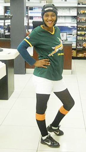 Charmaine showing her support for the Boks.