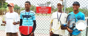 Sea Vista Tennis Championship stars: Marvin Adams (Singles Champion) left, Roshart Groenewald (Singles Runner up), and John Fredericks (Runner up of the Plate event) and Nico Meyer (winner of the Plate Event). Photo: Claire Millson