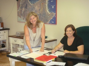 Lois Fox with Jennie Manser, the office administrator