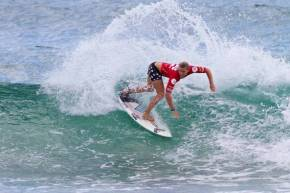 SA's Sarah Baum (Athlone Park) throws a sheet of spray while posting the highest heat total to date in the Billabong ASP World Junior Championships at Burleigh heads, Queensland, Australia on Sunday.  Credit: ASP / Dunbar