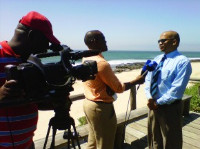 Kouga Mayoral committee member, Verbon Stuurman,  being interviewed by SATV