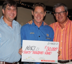 A delighted Marc May,St Francis Bay's NSRI station commander, was presented a cheque by Richard Moolman of SuperSpar at the upmarket whisky tasting at St Francis Links on Thursday night. Seen here are Richard Moolman of SuperSpar St Francis Bay (left) with NSRI station commander, Marc May, and Jeff Clause from St Francis Links.