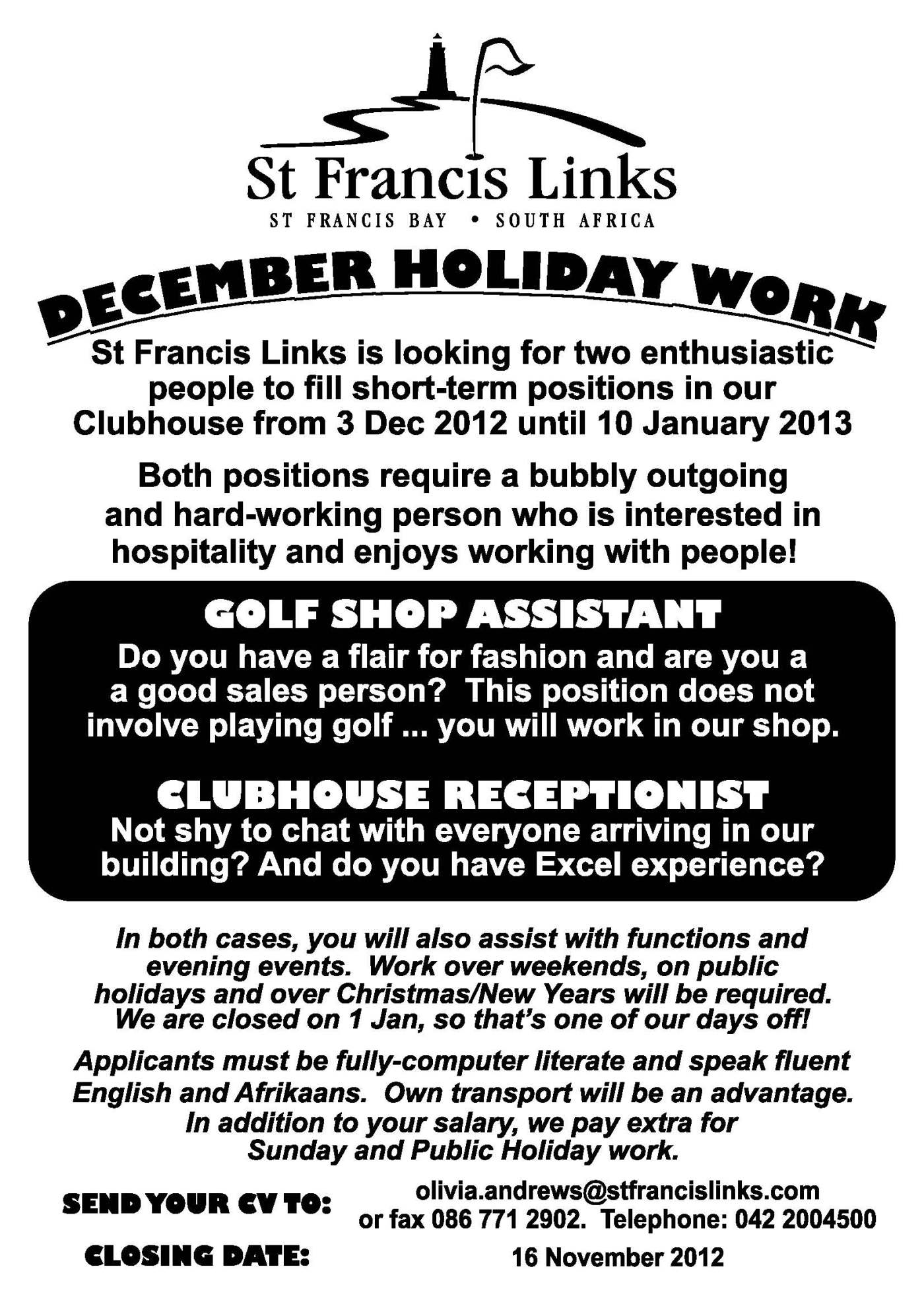 need a job there s a vacancy at the links st francis chronicle