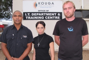 Allister Makomo, Jill Coetzee and Jaen Schaap of Kouga Municipality's IT section show their support for the Black Friday anti-rape campaign.