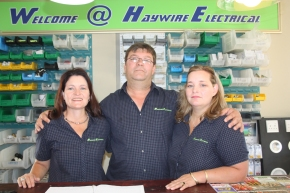 Gerrie Botha and his wife Jacqueline, right stand prouldy inside their newHaywire electrical premises in St Francis Drive, St Francis Bay. With them, left, is Yvette Maritz, sister to Jacqueline. .