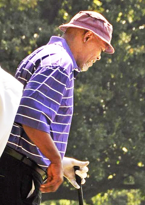 Samuel L Jackson playing golf in South Africa last month. Photo: Sharon Welman
