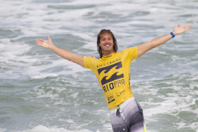 Jordy Smith of Cape Town, South Africa (pictured) celebrates his victory at the Billabong Rio Pro defeating Adriano De Souza (BRA) in the final on Sunday May 19, 2013.  CREDIT: ASP/ Kirstin PHOTOGRAPHER: Kirstin Scholtz