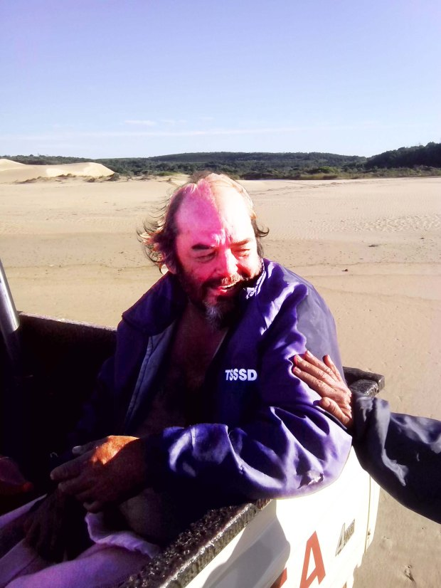 Darren Hansen, 62, from Mossel Bay is alive and safe at  Oyster Bay after his yacht ran aground in stormy seas last night. He lost his artificial  leg and clothing and had to crawl ashore for help.