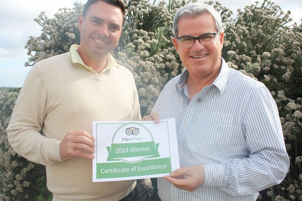 Jeff Clause, CEO of St Francis Links Golf Estate in St Francis Bay is seen here with Justin le Roux. PGA PRO at St Francis Links shortly after the announcement of the TripAdvisor Certificate of Excellence award.