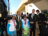 Springbok and Scottish rugby teams arrive on same plane at PE airport.. They were welcomed by African Drumbeat Dancers. Photos: Ruth Macintosh.