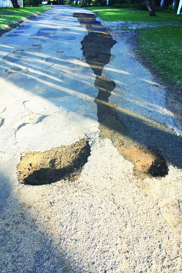 Some potholes and trenches in St Francis Bay's streets