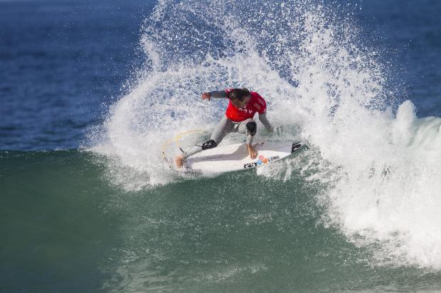 Jordy Smith of Durban, South Africa (pictured) suffered a massive upset when he was defeated by CJ Hobgood (USA) during Round 3 of the J-Bay Open on Monday July 14, 2014. Smith posted an excellent 8.00 ride (out of ten) but failed to find a second high scoring ride and was eliminated from the event. The J-Bay Open, stop No. 6 of 11 on the 2014 Samsung Galaxy ASP World Championship Tour was called ON today for Round© ASP/ Kirstin 1. Photo credit: