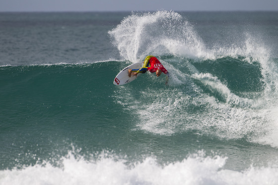 Fred Patacchia Jnr of Oahu, Hawaii (pictured) had a top score on day 2 of the J-Bay Open, posting a near perfect 9.93 to win his heat and advance into Round 3