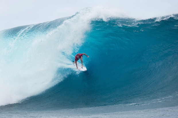 Mick Fanning of Tweed Heads, New South Wales, Australia (pictured) won his opening Round 1 heat of the Billabong Pro Tahiti at Teahupoo on 15 August 2015. The Round 1 heat was Fannings first back in competition after his shark encounter at Jeffreys Bay, South Africa on 19 July 2015.