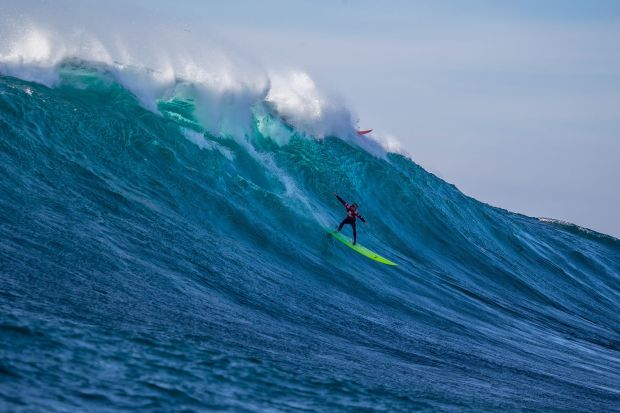 Josh Kerr of San Deigo, California (pictured) winning the Todos Santos Challenge in monstorous 30-4-ft surf at Todos Santos off the coast of Baja, Mexico on Sunday January 17, 2015.