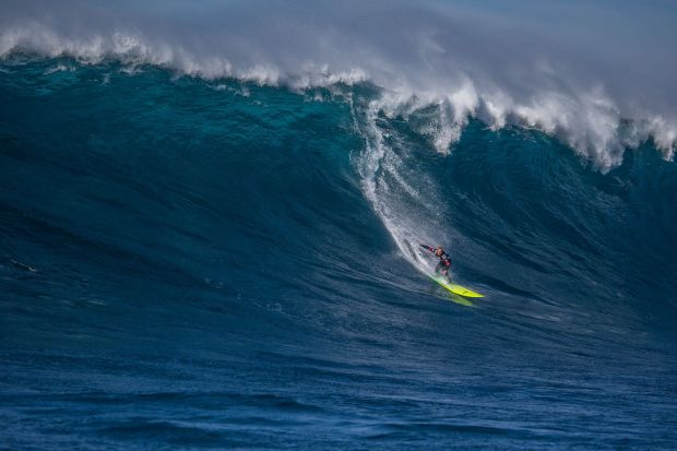 Josh Kerr formerly of Australia, now San Deigo, California (pictured) rides a wave during Round 1 of the Todos Santos Challenge. Kerr won the event in monstorous 30-4-ft surf at Todos Santos off the coast of Baja, Mexico on Sunday January 17, 2015.